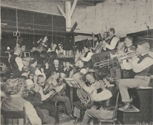 A large band in a cramped studio at the Edison company in 1900