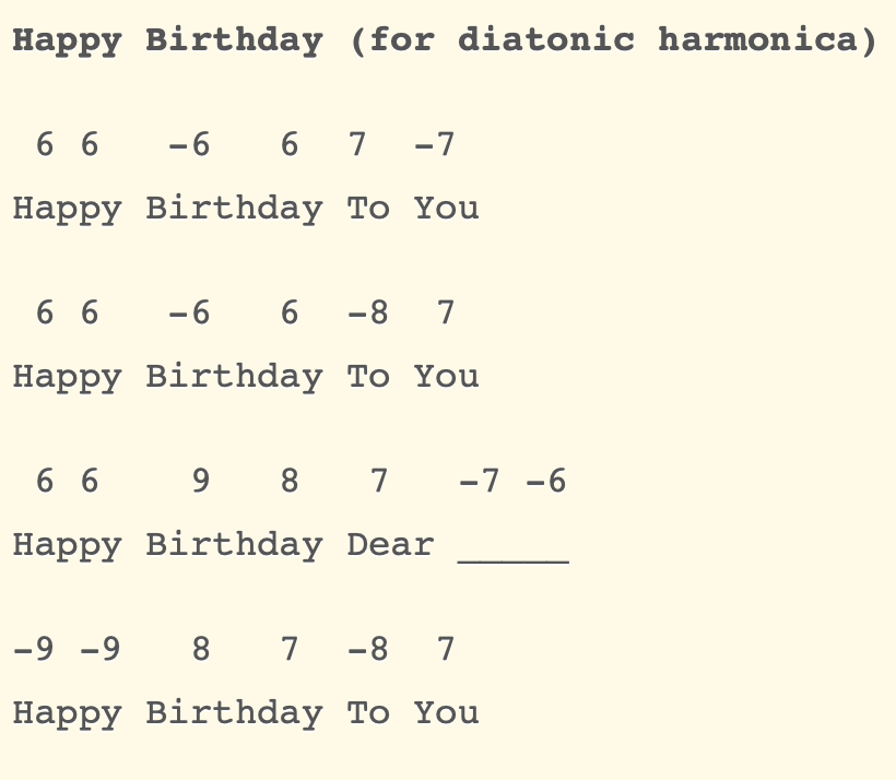 Happy birthday songs with tab - Easy harmonica songs with tabs for beginners